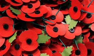 Poppies are seen in a pile at the British Legion Poppy Factory in Richmond, west London