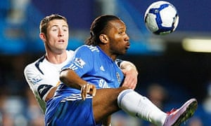 Bolton's Gary Cahill tangles with Didier Drogba in 2010. Chelsea are in talks to sign him