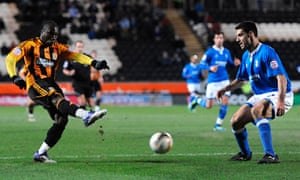 Hull City's Aaron McLean scores his side's winner in their 2-1 home victory against Birmingham City