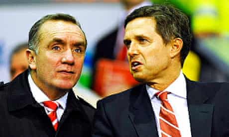Christian Purslow, right, the former Liverpool managing director, with Ian Ayre