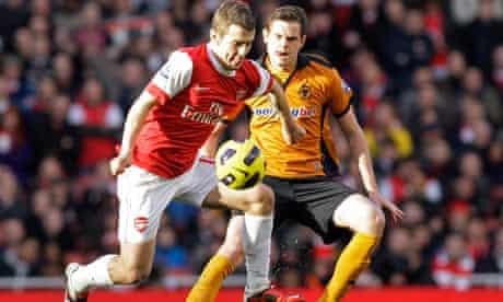 Jack Wilshere, Richard Stearman Arsenal v Wolves