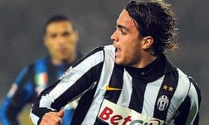 Alessandro Matri celebrates after scoring the winner for Juventus against Inter