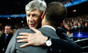 Arsène Wenger, facing, of Arsenal and Pep Guiardiola of Barcelona