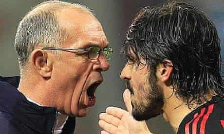 Gennaro Gattuso argues with Joe Jordan