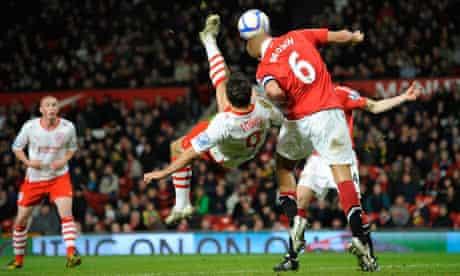 Matt Tubbs' dramatic overhead kick narrowly goes over the bar