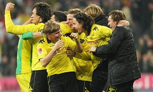 Borussia Dortmund celebrate after their 3-1 victory over Bayern Munich
