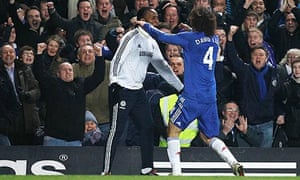 David Luiz celebrates after equalising in Chelsea's 2-1 win against Manchester United