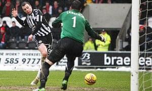 Paul McGowan puts St Mirren 1-0 ahead against Aberdeen in the Scottish Cup