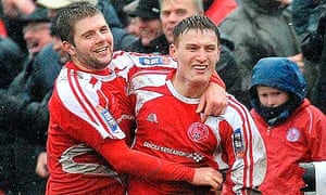Brechin City's Rory McAllister after scoring during a Scottish Cup quarter-final with St Johnstone