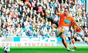 Blackpool's Charlie Adam puts his side 1-0 up at Blackburn Rovers from the penalty spot