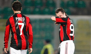 Antonio Cassano and Pato react after Palermo's goal in the win over Milan