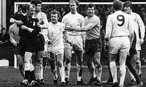 Fghting on the pitch between Leeds and West Brom players in 1971