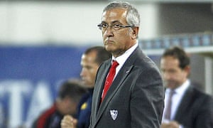 Sevilla's coach Gregorio Manzano looks on during the game with Real Mallorca at Son Moix