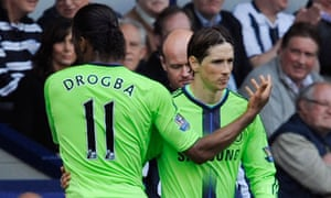 Chelsea's Didier Drogba, left, is replaced by Fernando Torres in their game at West Brom.