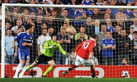 Manchester United's Wayne Rooney scores the only goal of their Champions League first leg at Chelsea