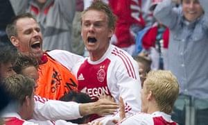 Ajax players celebrate Siem de Jong's opening goal