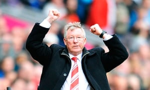 Sir Alex Ferguson of Manchester United celebrates their 19th title