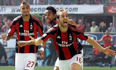 Mathieu Flamini celebrates after scoring Milan's winner in the victory over Bologna