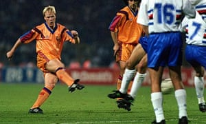 Ronald Koeman scores the winning goal for Barcelona against Sampdoria in the 1992 European Cup final