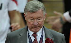 Sir Alex Ferguson descends the Wembley steps after collecting his losers' medal.