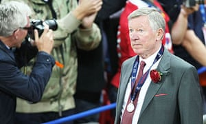 Sir Alex Ferguson of Manchester United shows his disappointment after Barcelona's 3-1 victory