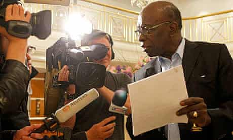 Jack Warner talks to journalists at the lobby of a hotel in Zurich