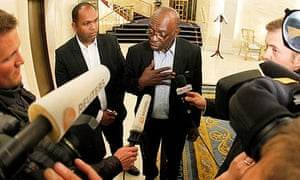 Jack Warner speaks with the media on Monday