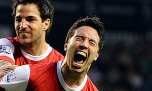 Arsenal's Samir Nasri celebrates with Cesc Fabregas