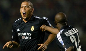 f868cb71f28 Real Madrid s Ronaldo celebrates after scoring his third goal against  Manchester United at Old Trafford in April 2003. Photograph  Phil Noble PA