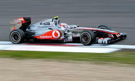 Jenson Button drives his McLaren at the Nürburgring during the second practice sesssion