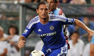 Frank Lampard playing for Chelsea against Aston Villa