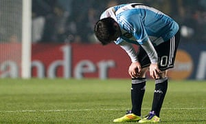 Lionel Messi reacts after Argentina's goalless draw with Colombia
