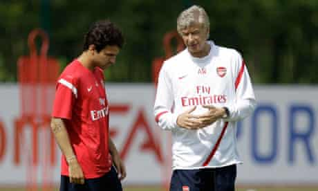 Arsenal's Cesc Fabregas and Arsene Wenger
