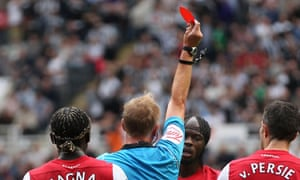 Arsenal's Gervinho is sent off by referee Peter Walton after clashing with Newcastle's Joey Barton.