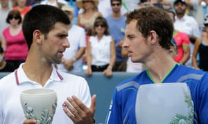 Andy Murray and Novak Djokovic standing with their trophies at the Cincinnati Open