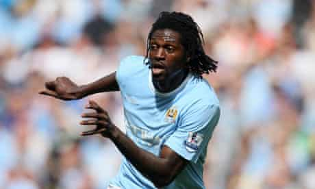 Emmanuel Adebayor  in action for Man City