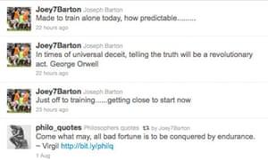 Joey Barton's Twitter feed