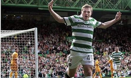 Celtic's James Forrest celebrates scoring his sides first goal during their 4-0 win over Motherwell