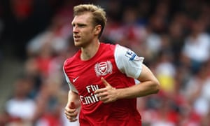 Arsenal's Per Mertesacker in action against Swasea