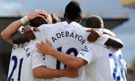 Emmanuel Adebayor celebrates scoring with his team-mates