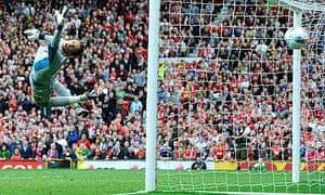 Arsenal's Wojciech Szczesny was powerless to stop Manchester United in late August