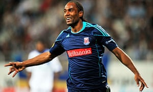 Stoke City's Cameron Jerome celebrates after scoring at Dynamo Kyiv in the Europa League