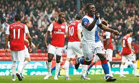 Blackburn Rovers' Yakubu Ayegbeni celebrates putting his side 3-2 up against Arsenal