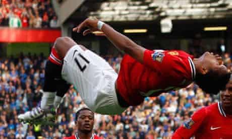 Nani celebrates after scoring Manchester United's second goal aginst Chelsea