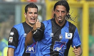 Ezequiel Schelotto celebrates after scoring the opening goal in the win over Novara