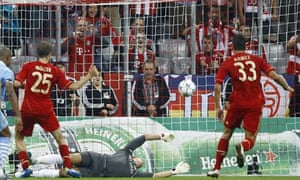 Bayern Munich's Mario Gomez scores his first goal against Manchester City