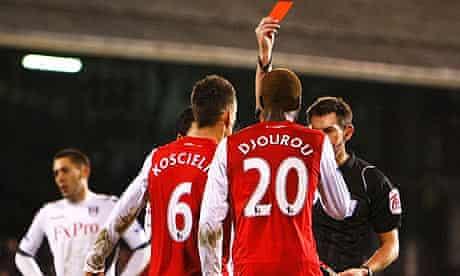 Arsenal's Johan Djourou is sent off