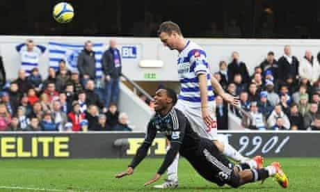 Chelsea's Daniel Sturridge of Chelsea and QPR's Clint Hill