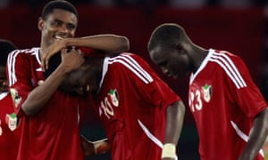 Sudan's players celebrate