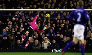Everton's goalkeeper Tim Howard scores